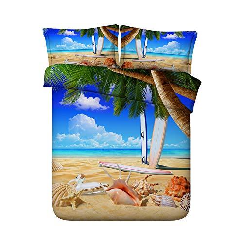 RoyalLinens 3 pcs Magnifique Paysage de mer de lit Ocean Beach and Shell Imprimé Housse de Couette Parure de lit, Jf270, Super King Size 3pcs