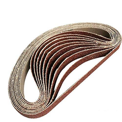 MOLINB Schuurpapier 10 pak 330 * 10 mm 520 * 20 mm bruine aluminiumoxide schuurbanden 60-1000 korrelslijpen en polijsten vervanging voor haakse slijper Machin,korrel600,10 stuks 520 mmx 20 mm