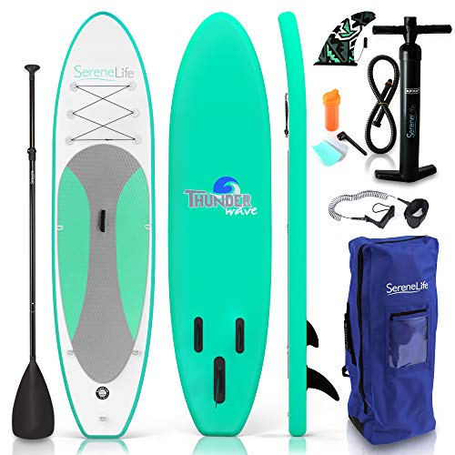SereneLife Inflatable Stand Up Paddle Board (6 Inches Thick) with Premium SUP Accessories & Carry...