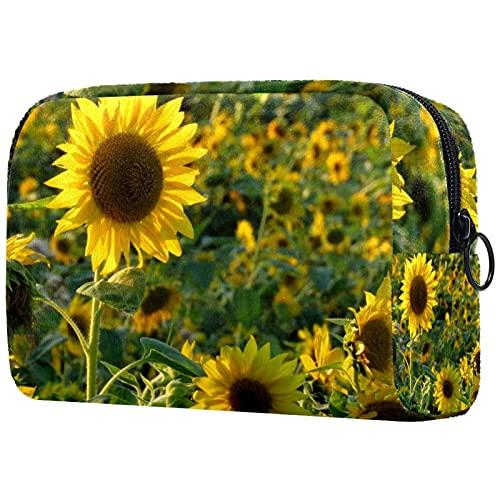 Kulturtasche für Herren und Mädchen, Reise Kulturbeutel Kosmetiktasche mit Doppelter Reißverschlussöffnung, Großer Stauraum Sonnenblumenfeld gelb...