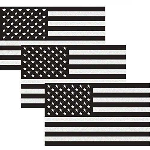 Reflective Subdued American Flag Sticker 3 X 5 Tactical Military Flag USA Decal Great for SUV, Hard Hat, Car Vinyl Window Bumper Decal Sticker (3-Pack)