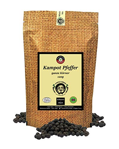 Uncle Spice schwarzer Kampot Pfeffer - 120g Kampot Pfeffer schwarz - Premiumqualität - ganze sonnengetrocknete Pfefferbeeren, Pfefferkörner ganz, handverlesen für die Mühle, Perfekt als Geschenk