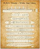 R. M. S. Titanic - White Star Lines Deck Plan - 11x14 Unframed Patent Print - Great Gift and Decor for History and Cruise Ship Buffs Under $15