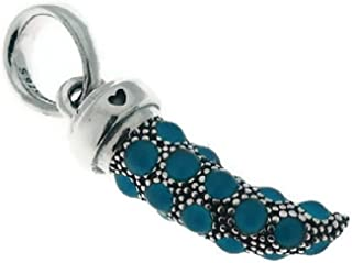 397203EN168 Turquoise Italian Horn Necklace Pendant, Turquoise Enamel