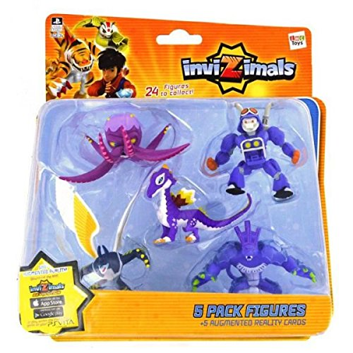 IMC Toys 30039 - Pack 5 Figuras Invizimals - KRAKEN - TRUCKTOR - STAR DRAGON - UBERJACKAL - DARK OCELOTL