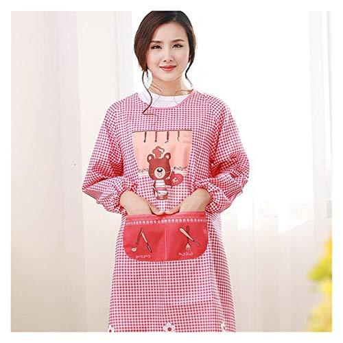 Cocina Cocinar la moda de la manga de la manga larga femenina delantal vestido adulto lindo desgaste inversa delantal (Color : Cerise)