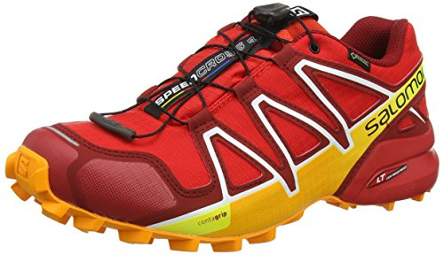 Salomon Speedcross 4 GTX, Zapatillas de Trail Running Hombre, Rojo (Fiery Red/Red Dalhia/Bright Marigold), 42 2/3 EU