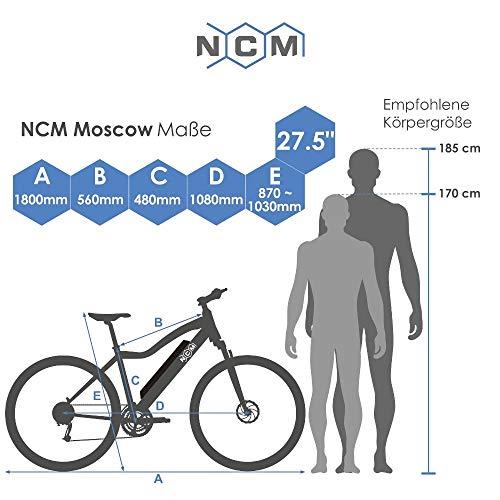 'NCM Moscow 48V 27.5'/29inch 250W Kit Rear Engine, Electric Mountain Bike MTB E-bike 13Ah 624WH with Li-Ion Battery, Mechanical Tektro Disc Brakes, 21Speed Shimano Gear, 29' Schwarz