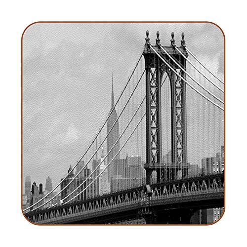 Lot de 6 sous-Verres antidérapants en Cuir New York sous Le Pont sous-Verres pour Boisson Isolation Thermique Anti-brûlure