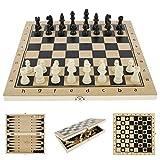 Scacchi in Legno 3 in 1 Set di Scacchiera in Legno Dama Giocattolo da Backgammon Pieghevole Portatile per Viaggio Giocattoli Educativi per Adulti Bambini (29x29 cm)