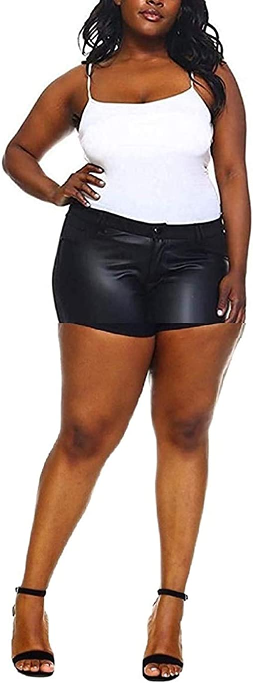 1826 Faux Discount mail order Leather Black Stretch Women's Gorgeous Ponte Skinny P Size Plus