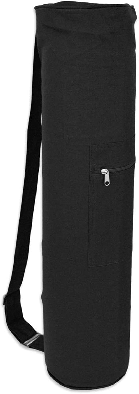 (Black) - Yogaaccessories Cotton Zippered Yoga Mat Bag. Shipping is Free