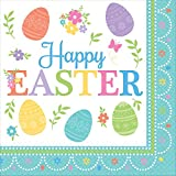 Amscan 521591 Lovely Easter Dinner Napkins Party Supplies, 6 1/2