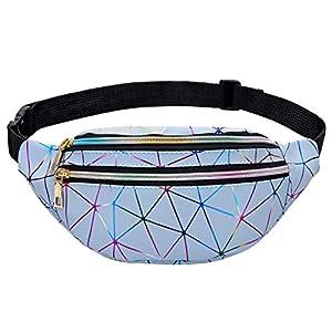 LIVACASA Riñoneras Mujeres de Moda Riñoneras Deportivas Impermeables Plegable Brillante Bolsas de Cintura Running Paseo…
