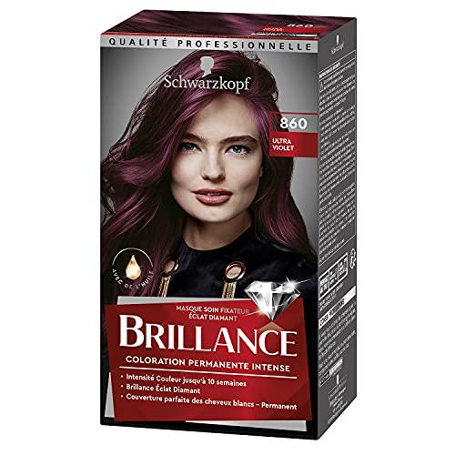 Schwarzkopf - Brillance - Coloration Cheveux Permanente Intense - Avec de l'Huile - Couvre 100% des Cheveux Blancs - Luminance - Ultra Violet 860