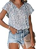 Dokotoo Womens V Neck Boho Tops and Blouses Floral Printed Work Chiffon Cap Sleeve Ladies Summer Shirts with Drawstring Medium Sky Blue