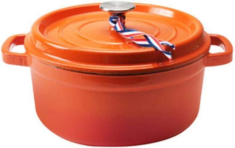 Cast iron pots Dutch oven casserole with lid non-stick enamel coating-Blue/_3.8L capacity