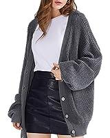 QUALFORT Women's Cardigan Sweater 100% Cotton Button-Down Long Sleeve Oversized Knit Cardigans Heathergrey XX-Large