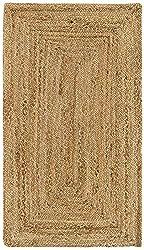 HAMID Alfombra Yute Alhambra Color Natural - Alfombra 100% Fibra de Yute (60x110cm)