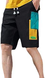 MogogN Mens Pocket Smocked Waist Casual Geometric Splicing Jogger Gym Shorts