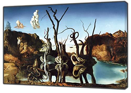 swant Reflecting Elefant von Salvador Dali Nachdruck auf Rahmen Leinwand Bild Art Wand Home Dekoration, 40 x 30 inch(102 x 76 cm)-18mm depth
