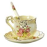 Asentech セラミック 陶 ヨーロッパ コーヒー 茶 マグカップ&ソーサーティーカップ コーヒーカップ カップのセット 200ml セット (バラ)