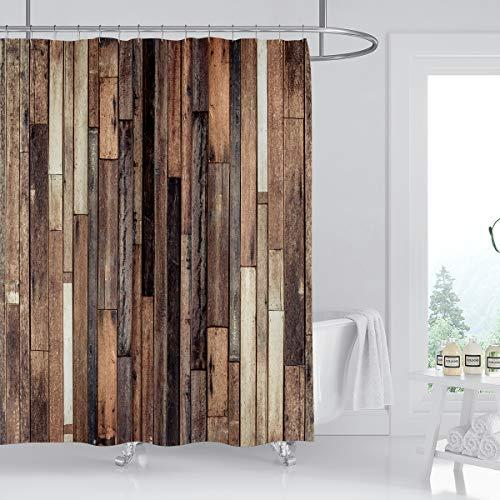 Kikiry Rustic Shower Curtain 60''W x 72''L Wood Barn Door Vintage Brown Wooden Antique Hardwood Polyester Fabric Waterproof 12 Pack Plastic Hooks