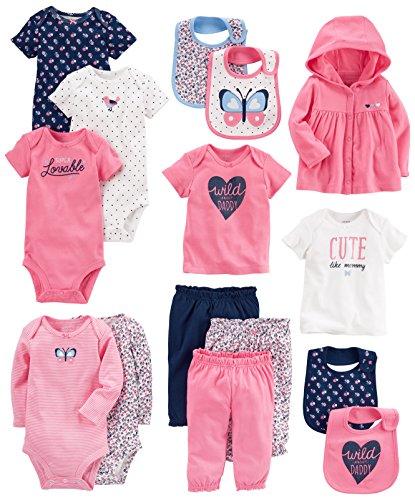 Carter's Baby Girls' 15-Piece Basic Essentials Set, Floral, 24 Months