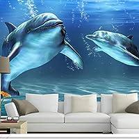 カスタム写真壁紙3D立体マリンイルカ大きな壁画寝室リビングルームテレビ背景装飾壁紙-350x250cm