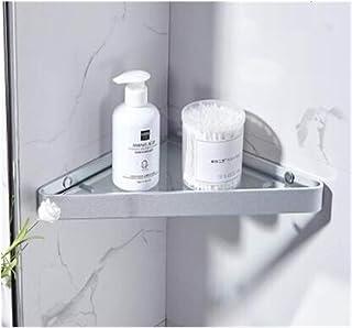 JJYZD Bathroom Shelf Aluminum Shower Shelf Glass Shower Shelf Black Finish Storage Suction Basket Storage Rack Bathroom Accessory (Color : Satin)