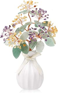 Estatua de mesa Los cristales de cuarzo de colores de piedra curativo del Bonsai árbol del dinero de las piedras preciosas...