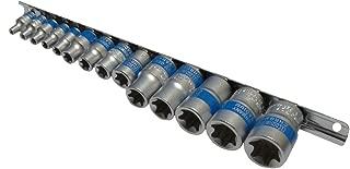 AERZETIX: Juego de 14 llaves de vaso E-Torx E4-E5-E6-E7-E8-E10-E11-E12-E14-E16-E18-E20-E22-E24 1/4-3/8-1/2 - C4191