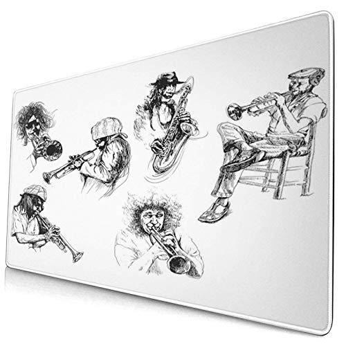 Extra große Gaming-Mauspad-Skizze Bild von Jazzspielern, die Instrumente spielen Trompete und Saxophon Musik Professionelle Schreibtischmatten Tastatur Mousepad Tischmatte