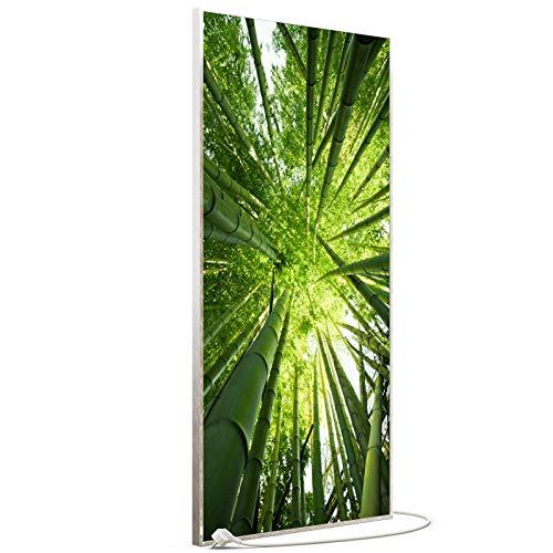 STEINFELD Bild Infrarotheizung mit Thermostat | Made in Germany | viele Motive 350-1200 Watt Rahmen silber (750W, 023h Bambusbaum)