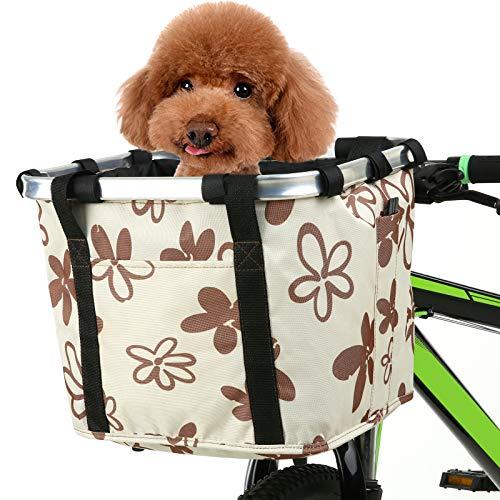 Walmeck Cesta Plegable para Bicicleta con Estampado de Flores, pequeña Mascota, Gato, Perro, Bolsa para Transporte, Manillar de Bicicleta Desmontable