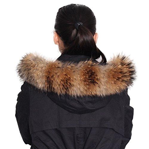 Dancel - Bufanda de pelo de mapache auténtico, para mujer, para cuello de abrigo o borde de capucha, 80x13cm