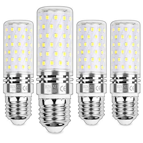 HZSANUE E27 LED Mais Glühbirnen 15W, 6000K Tageslicht Weiß, 1500Lm, Groß Edison Schraube Kerze Leuchtmittel, Nicht dimmbar, 4er-Pack