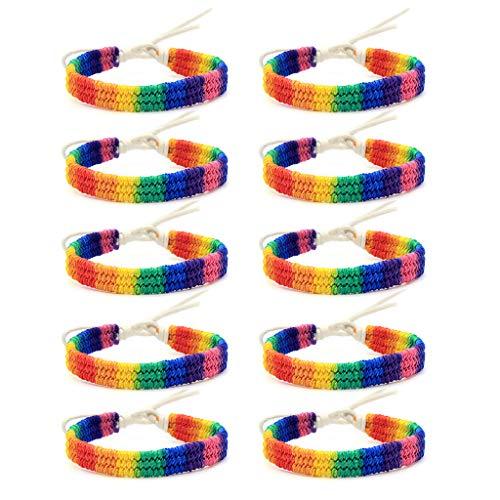 Leiouser - Pulsera trenzada hecha a mano, 10 unidades, diseño de orgullo de amor con arco iris