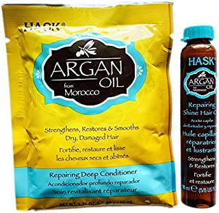 (Argan Oil) - Hask Argan Oil Hair Treatment Set Included: Repairing Deep Conditioner 50ml And Hair Oil 20ml Strengthens, R...