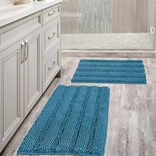 Bathroom Rugs Slip-Resistant Extra Absorbent Soft and Fluffy Thick Striped Bath Mat Non Slip Microfiber Shag Floor Mat Dry Fast Waterproof Bath Mat...