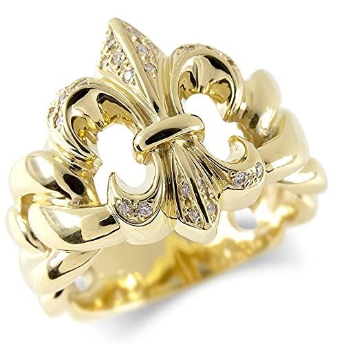 [アトラス] Atrus リング メンズ 18金 イエローゴールドk18 ダイヤモンド ユリの紋章 指輪 太め ピンキーリング 幅広 17号