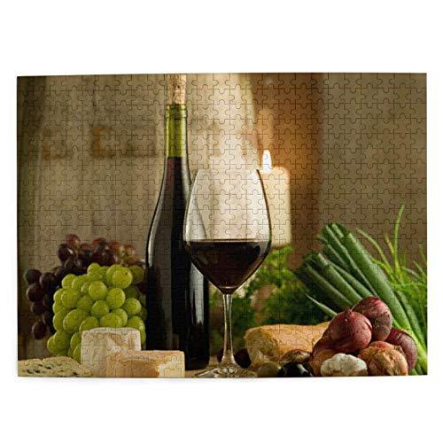 Rosso Borgogna Vino e Cibo Puzzle in legno stile francese 500 pezzi per adulti Adolescenti Divertente gioco per famiglie da appendere Decorazione domestica