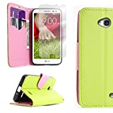 CoverON for LG Optimus L70 Exceed 2 Realm Pulse Ultimate 2 L41C Neon Green/Light Pink Wallet Flip Pouch Stand Phone Cover Case + Screen Protector