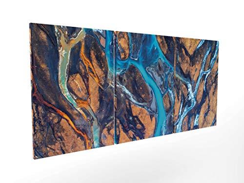 Panorama Composición Cuadro Lienzo Rio en Islandia en 3 Piezas 210x100cm - Impreso en Lienzo Bastidor de Madera - Cuadros Grandes XXL - Cuadros 3 Piezas - Cuadros Modernos