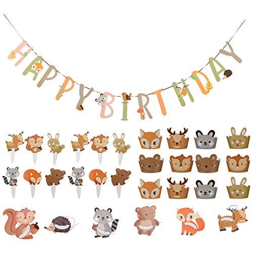 VALICLUD 31Pcs Dschungel Geburtstag Dekorationen Banner Girlande Tier Kuchen Topper Und Wrapper Wald Tier Party Gefälligkeiten
