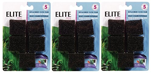 Elite Mini Underwater Filter Replacement Foam (3 Packages with 5 Filters each / 15 Total)