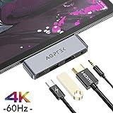 AGPTEK iPad Pro USB C ハブ Type-Cハブ モバイル ドッキングステーション 4K HDMI 高解像度 PD充電 3.5mm ヘッドホンジャック 変換アダプター iPad Pro 2018 2020/MacBook/MacBook Pro/ChromeBook/Surfaceなど対応