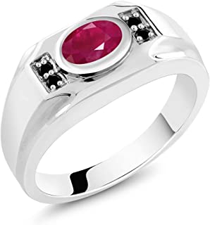 Gem Stone King 2.02 Ct Oval Red Ruby & Black Diamond 925 Sterling Silver Men's Ring (Available 7,8,9,10,11,12,13)