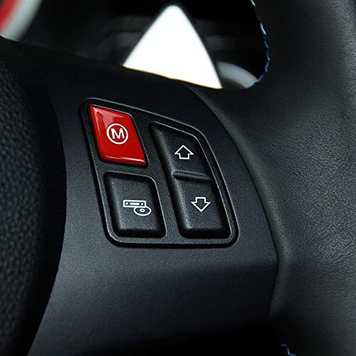 KKmoon Car Sports Steering Wheel M Mode Switch Button Cover Trim for BMW 3 Series E90 E92 E93 M3 2007-2013 Auto Interior Accessories Red