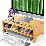 Amada 2 Tiers Bambus-Monitorständer mit Smartphone-Halterung & Platz für Stifte, für Computer im Heimbüro, Laptop, TV, Tablet, Drucker, Projektor… (Gold)